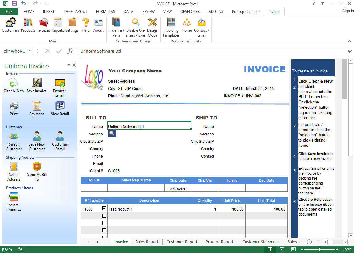 Default Invoice Form  Invoice For Excel