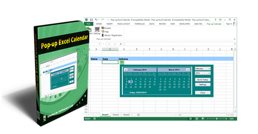 Pop-up Excel Calendar / Excel Date Picker (Screenshot)